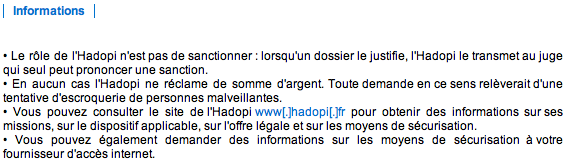 Information 1ere recommandation Hadopi